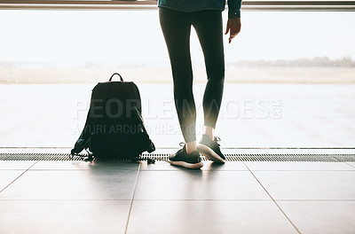 Buy stock photo Cropped shot of an unrecognizable woman waiting at the airport