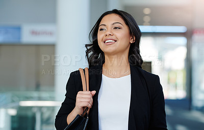 Buy stock photo Cropped shot of an attractive young businesswoman in an office