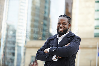 Buy stock photo Portrait of a handsome and fashionable young man out in the city