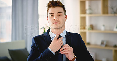 Buy stock photo Cropped portrait of a handsome young man getting dressed in his bedroom