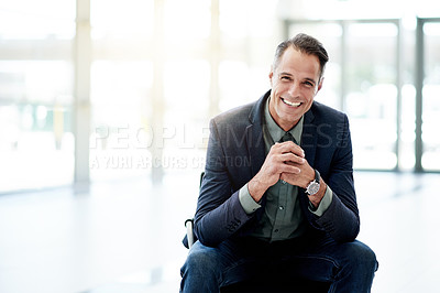 Buy stock photo Portrait of a mature businessman sitting in an office
