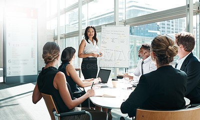 Buy stock photo Shot of a businesswoman delivering a presentation to her colleagues