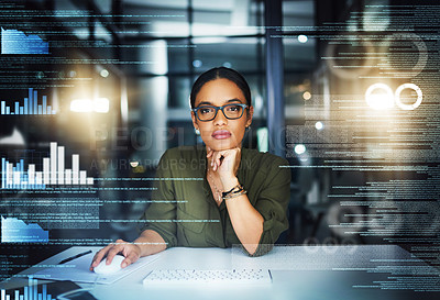 Buy stock photo Portrait of a cheerful young businesswoman working on a computer in the office at night