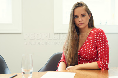 Buy stock photo Portrait of a  beautiful young businesswoman working in her office