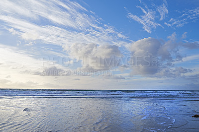 Buy stock photo The west coast beach of Jutland, Denmark - hundred of kilometers long.