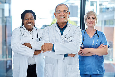 Buy stock photo Portrait of a group of medical practitioners standing together with their arms crossed