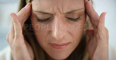 Buy stock photo Cropped shot of an attractive woman looking stressed