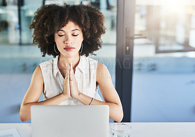 Buy stock photo Cropped shot of a cheerful young businesswoman seated at her desk while meditating with her eyes closed in the office