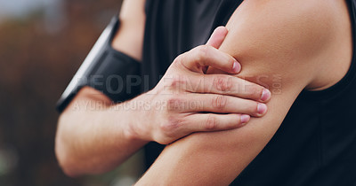 Buy stock photo Cropped shot of an unrecognizable man suffering from a sports injury