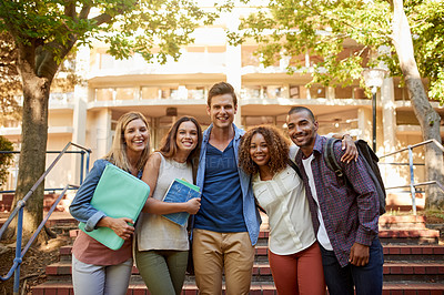 Buy stock photo Cropped portrait of a group of college students standing together to be photographed on campus