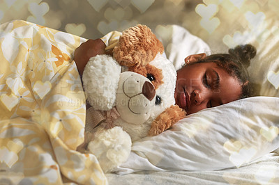 Buy stock photo Shot of an adorable young girl sleeping peacefully in her bed