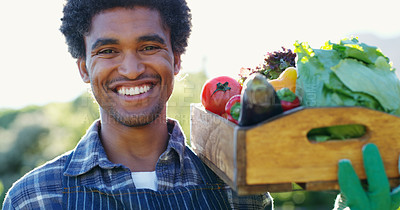 Buy stock photo Cropped portrait of a handsome young male farmer carrying a crate of vegetables while working on his farm