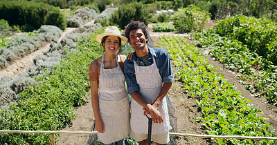 Buy stock photo High angle portrait of an affectionate young couple standing in the fields on their farm