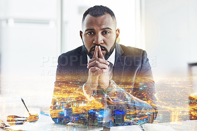Buy stock photo Multiple exposure shot of a young businessman sitting in his office