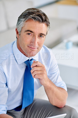 Buy stock photo Portrait of a confident mature businessman wearing a suit and sitting on a sofa indoors