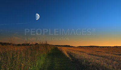Buy stock photo a photo of the Moon, sunset and landscape