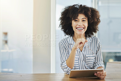 Buy stock photo Portrait of a beautiful young businesswoman using a digital tablet in her office at work