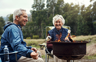 Buy stock photo Cropped shot of an affectionate senior couple roasting marshmallows while relaxing at their chosen camping spot