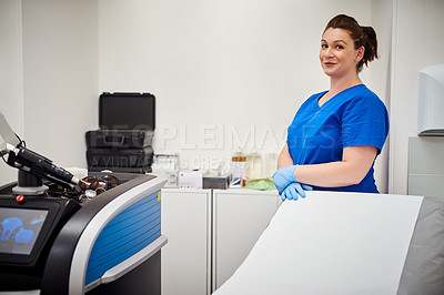 Buy stock photo Portrait of an attractive young nurse in a operating room at beauty clinic