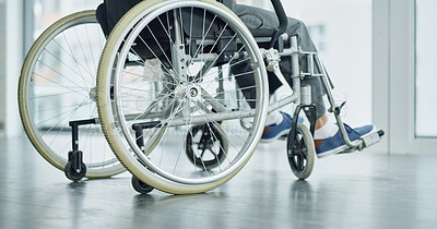 Buy stock photo Cropped shot of an unrecognizable man sitting in a wheelchair