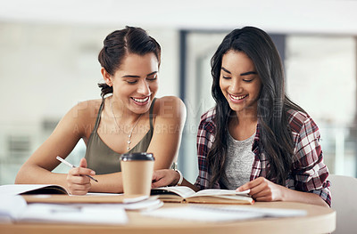 Buy stock photo Shot of two young women studying together at college