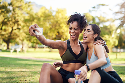 Buy stock photo Cropped shot of two attractive young women posing for a selfie while in the park during the day