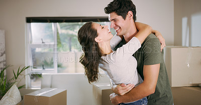 Buy stock photo Cropped shot of a young couple moving into their new home