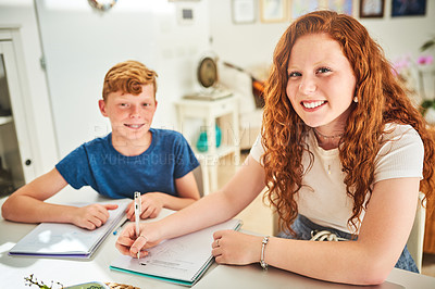 Buy stock photo Portrait of two teenage siblings doing their homework together at home
