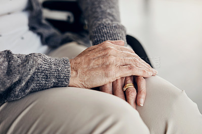 Buy stock photo Cropped shot of an elderly woman's hands resting on her lap