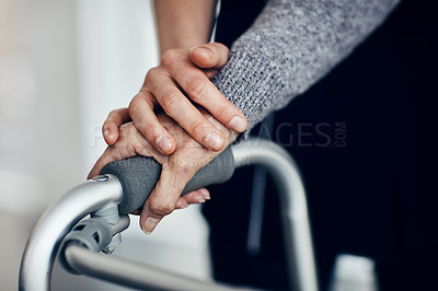 Buy stock photo Cropped shot of a female caregiver comforting a senior woman