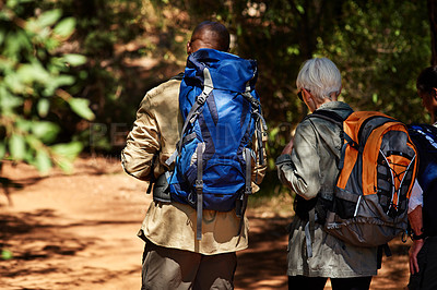 Buy stock photo Rearview shot of a senior couple out hiking
