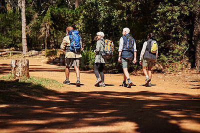 Buy stock photo Rearview shot of a group of seniors wearing backpacks while out on a hike