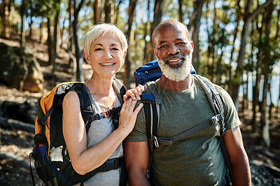 Buy stock photo Portrait of a cheerful senior couple posing together while hiking out in the mountains