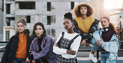 Buy stock photo Portrait of a group of young women hanging out in the city