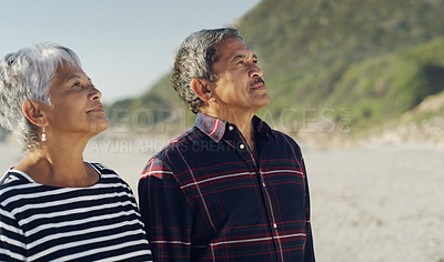 Buy stock photo Cropped shot of an affectionate senior couple standing closely and enjoying a day on the beach together