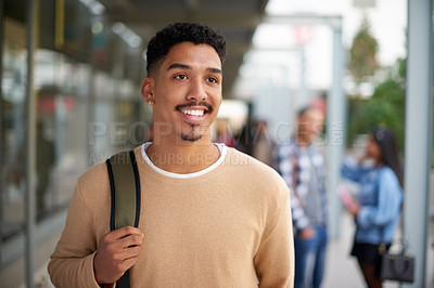 Buy stock photo Shot of a confident young man at university