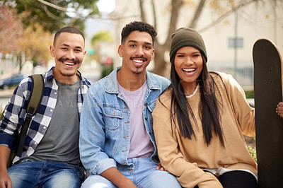 Buy stock photo Portrait of a group of confident young students at university