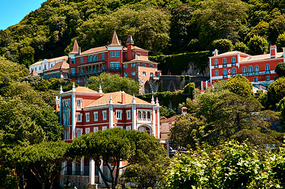 Buy stock photo Shot of a scenic residential area in Sintra, Portugal
