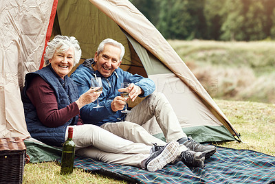 Buy stock photo Portrait of a senior couple drinking wine while camping in the wilderness