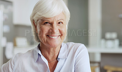 Buy stock photo Portrait of a happy senior woman relaxing at home