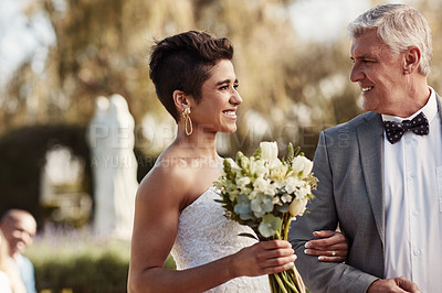 Buy stock photo Cropped shot of an affectionate mature father walking his daughter down the aisle on her wedding day