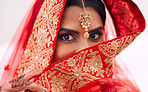 The beautiful bride in red