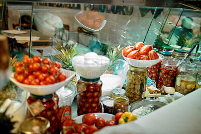 Buy stock photo Shot of food on display in a restaurant