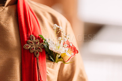 Buy stock photo Cropped shot of a man with a corsage in his pocket on his wedding day
