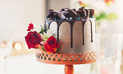 Buy stock photo Shot of a cake on a table at a wedding reception