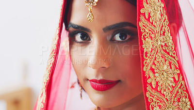 Buy stock photo Shot of a beautiful young young woman on her wedding day