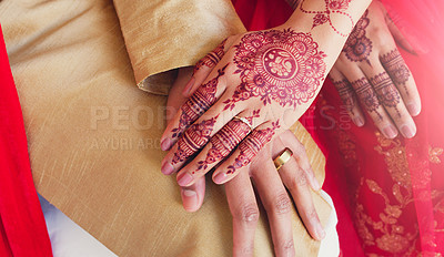 Buy stock photo Cropped shot of an unrecognizable young couple on their wedding day