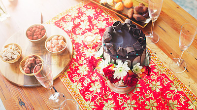 Buy stock photo High angle shot of a cake on a table at a wedding reception