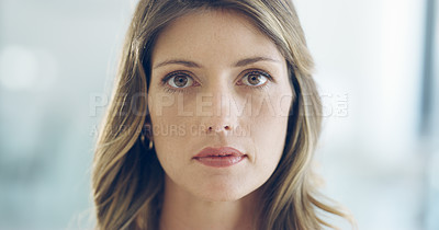 Buy stock photo Closeup portrait of an attractive young woman at home