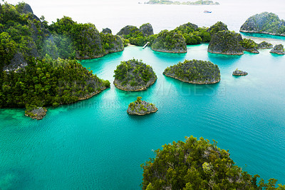 Buy stock photo High angle shot of the wonderful Raja Ampat Islands in Indonesia